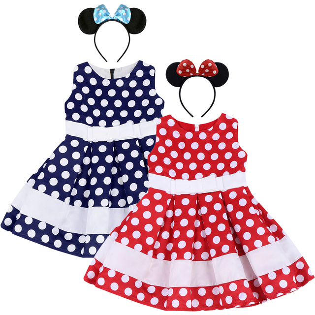 704506350 2pcs Set Mickey Mouse Outfit for Baby Girl Birthday Party Polka Dot Minnie  Dress Headband Baby