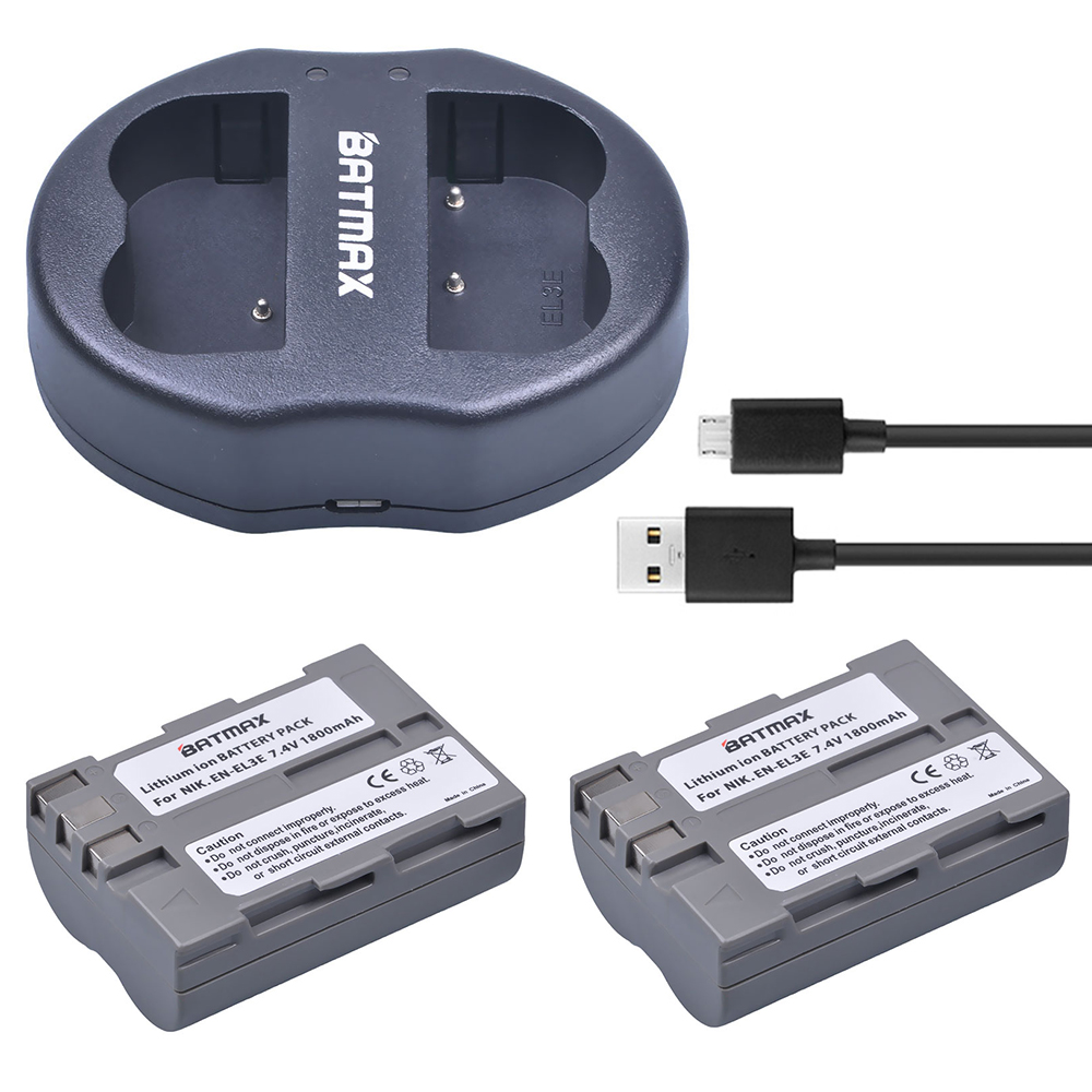 цена на 2 Pcs/lot EN-EL3E EN-EL3e ENEL3E EN EL3E Batteries & Dual USB Charger for Nikon D50 D70 D80 D90 D100 D200 D300 D700 z1