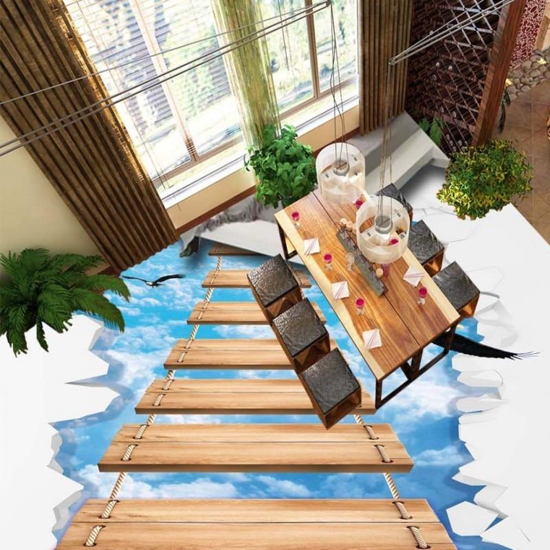 Free Shipping Outdoor walkway sky wooden bridge 3D floor painting anti-skidding flooring bathroom living room wallpaper mural цена 2017