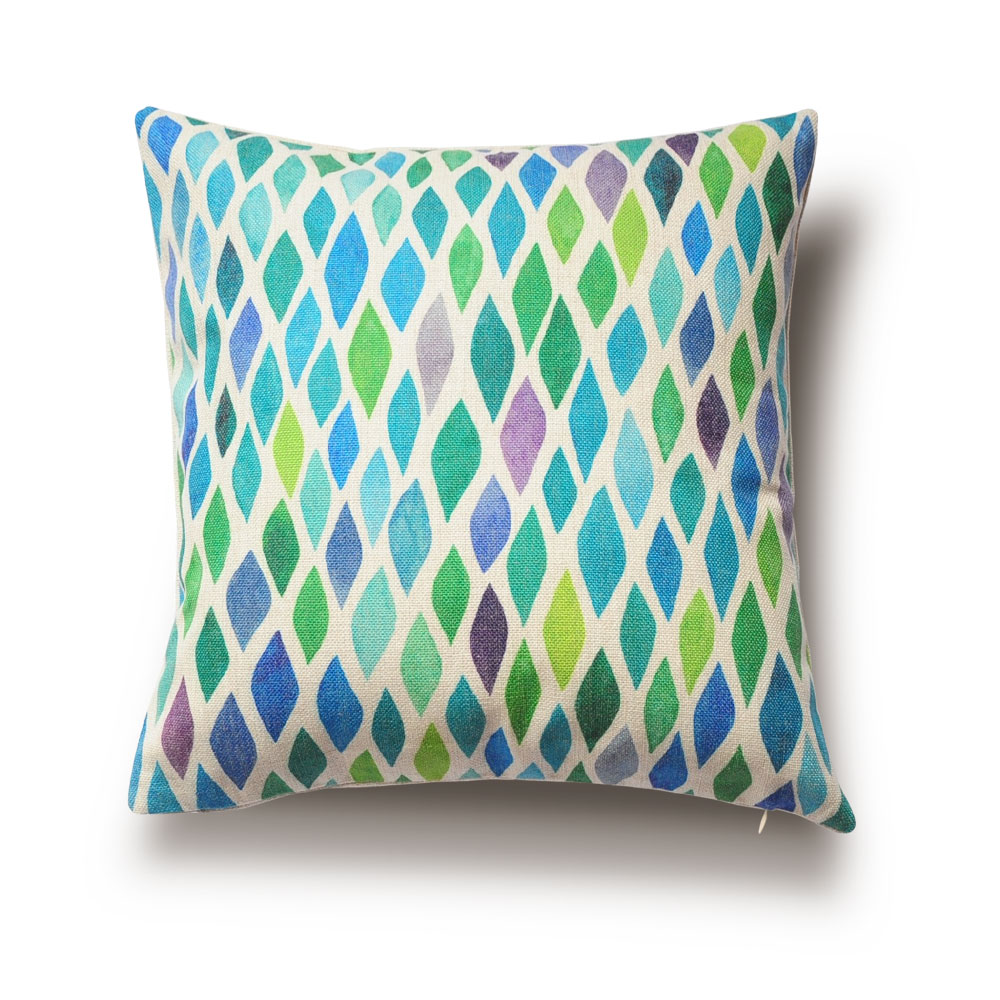 Throw Pillows Plain : Modern Style Home Cushions, Watercolor Geometric Patterns, Green Cushion Covers,Decorative Throw ...