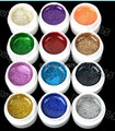 12pcs Mix Color Shimmering Sining UV Gel Builder Nail  Glitter Glue polish