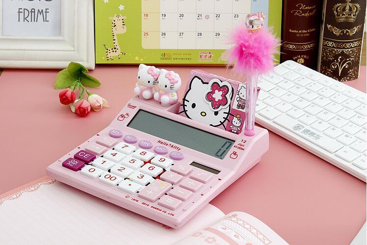 Cute Mini Korea Stationery Hello Kitty font b Calculator b font Mini Handheld Solar Cute Calculatrice