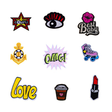 Kids Skateboard shoe Anchor Drink OMG Bestbaby Patches Iron On Or Sew Fabric Sticker For Clothes