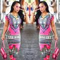 2017 Традиционных Африканских Одежды Из Двух Частей Набор Женщины Африканская Dashiki Печати Bodycon Платье + Брюки Африканских Производителей Одеёды
