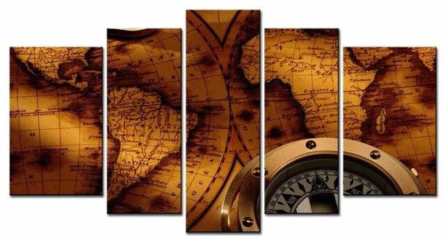 5 stukken wereldkaart canvas schilderij muur modulaire foto voor