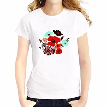 Red Wild rose flowers simple style t shirt Breathable comfort tshirt Short Sleeve O-Neck girls creative T-Shirts