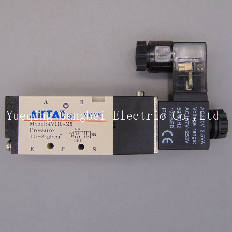 4V110-M5 M5Inner Guide Type 5 Way 2 Position Solenoid Valve  AC110V AC220V AC380V AC24V 24V DC 12V DC