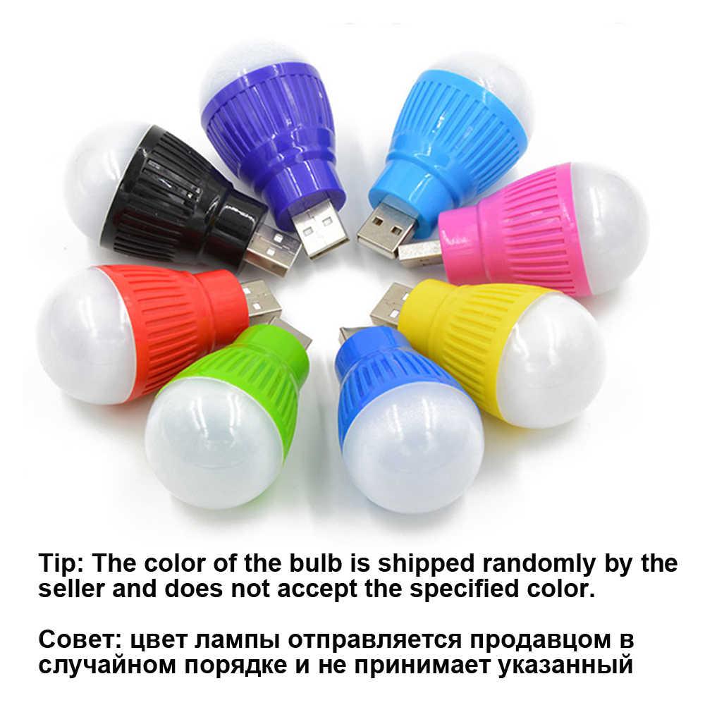 USB veilleuse LED ampoule Camping lampe ronde extérieure lampe de secours ordinateur portable économie d'énergie lecture livre lumière couleur aléatoire
