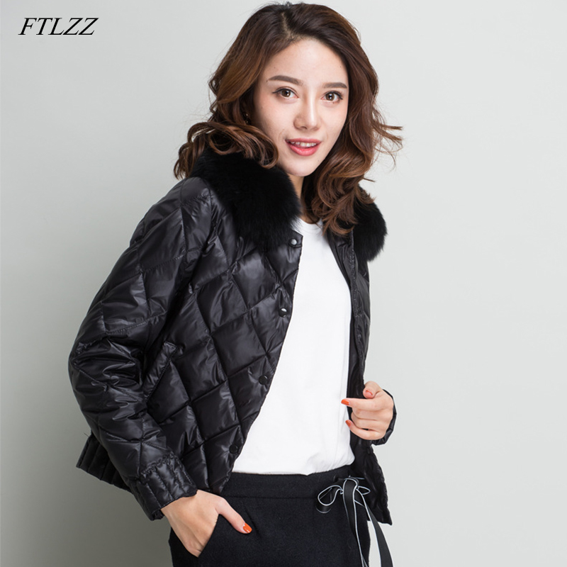 FTLZZ Women Real Collar Down Jacket Winter Warm Ultra Light Short Jacket White Duck Down Parka Elegant Coat Outwear