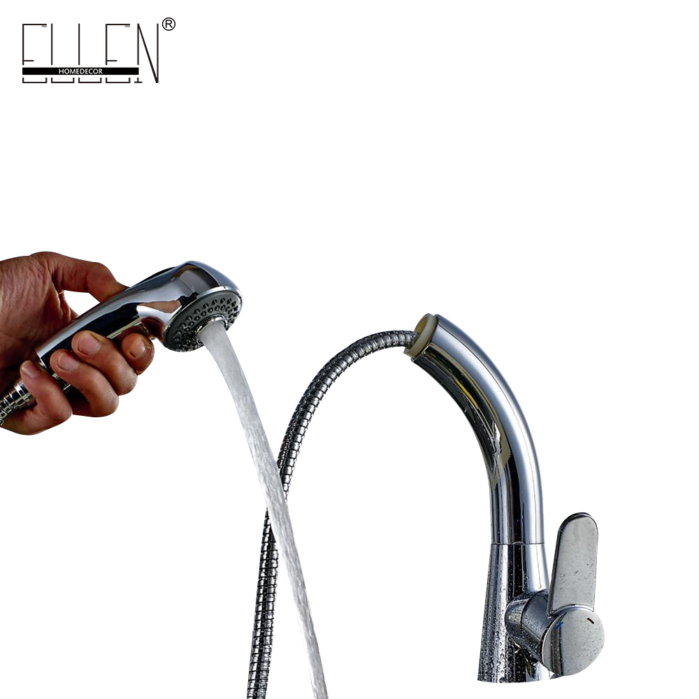 Pull Out Kitchen Faucet Hot and Cold Kitchen Sink Water Mixer Tap 2 type Spray Spout Chrome ELT605B free shipping pull out spray head kitchen faucet mixer tap swivel spout cold hot brass chrome sink faucet water tap wholesale