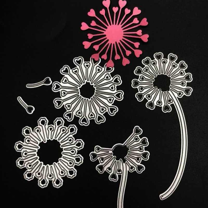 6pcs/Set DIY Handmade Paper Embossed Cutting Template Dandelion Carbon Steel Knife Die Scrapbooking Album Photo Paper Card Mold
