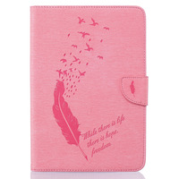 Ping Embossing Feather Pu Leather Filp Case For Samsung Galaxy Tab A8 0 T280 350 377