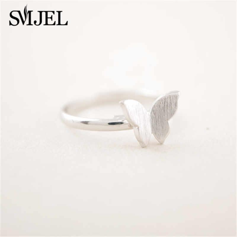 SMJEL น่ารักผีเสื้อแหวน Ringen งานแต่งงานงานแต่งงานหญิงแหวนแฟชั่นเครื่องประดับ anillos 2019