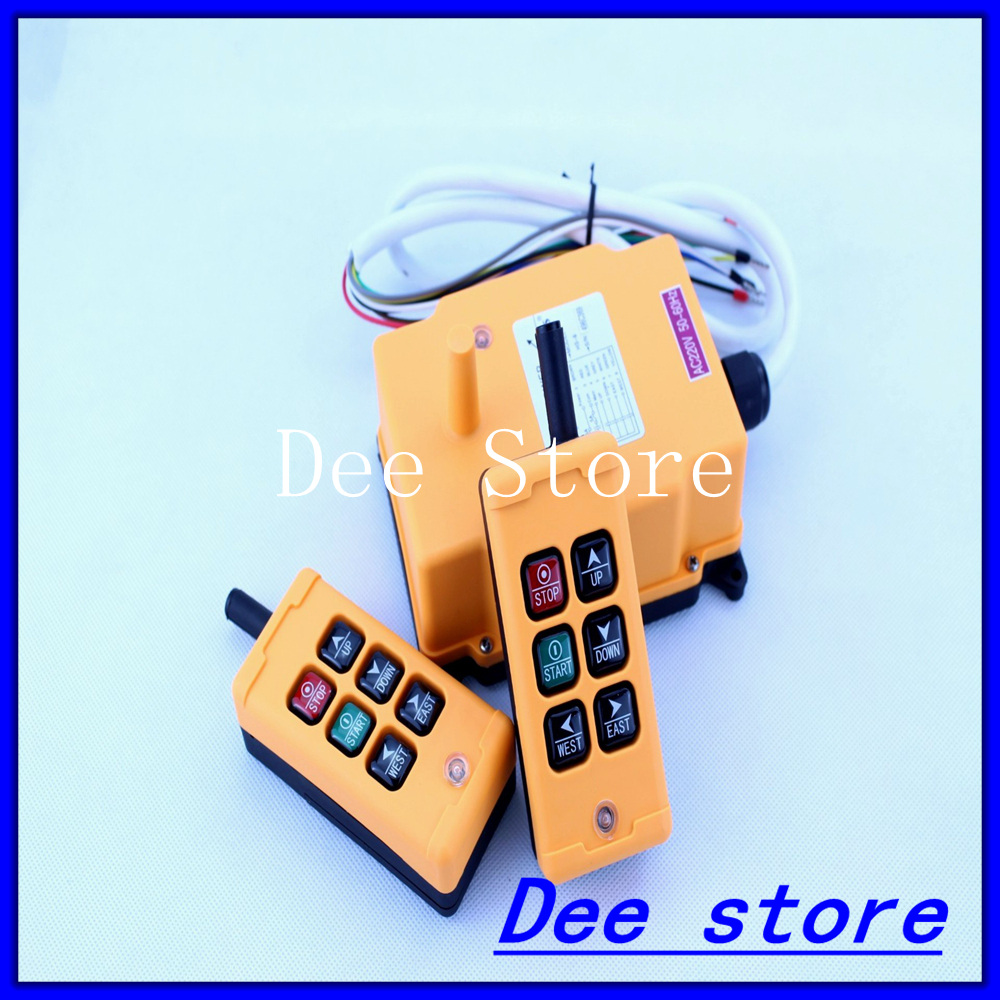 4 Channels 2 Transmitters 1 Speed Control Hoist Crane Radio Remote Control Push Button Switch System