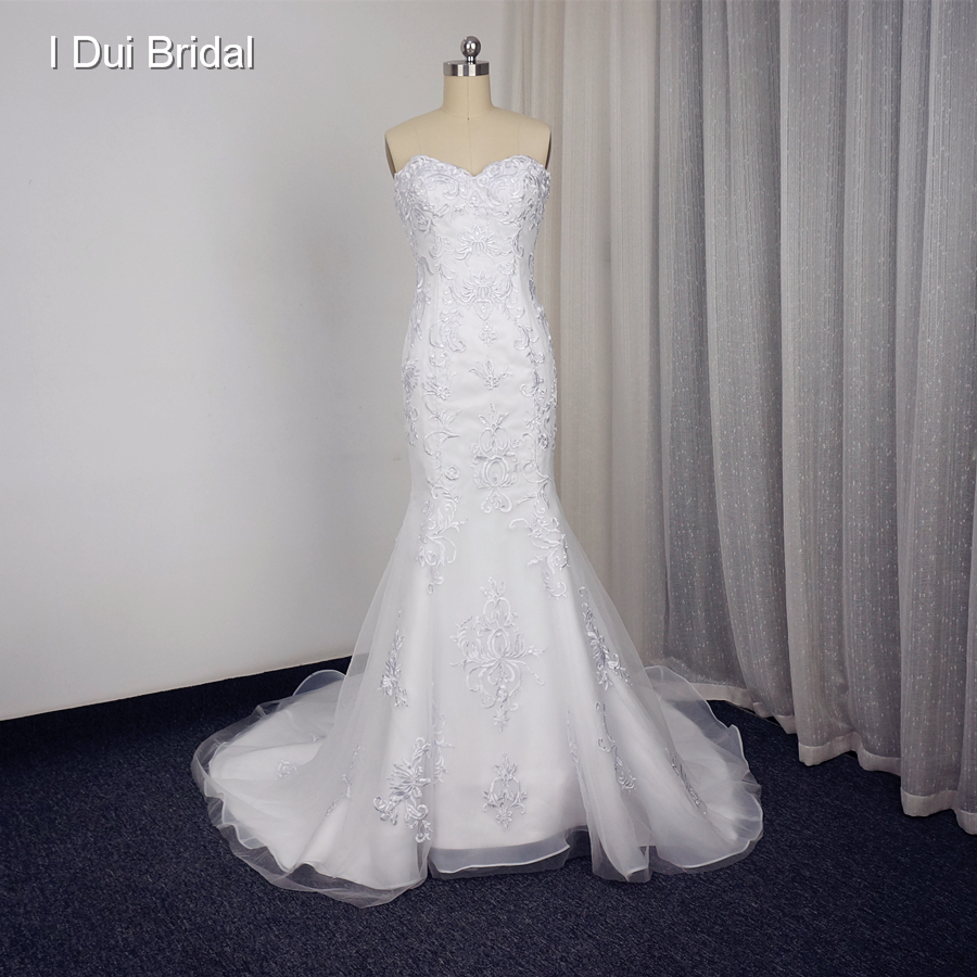 Sweetheart Mermaid Wedding Gown: Sweetheart Mermaid Wedding Dresses With Lace Appliques
