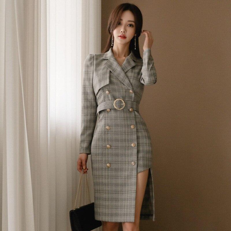 97cd8bcadff Mince Robe Blazer Plaid D affaires De Hiver Coréennes Multi Manches Vintage  Automne Irrégulière Longues Mode ...