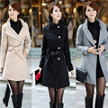 Nueva moda mujer foso de lana Manteau capa Femme 2015 otoño invierno cálido largo delgado solo pecho abrigos niñas lana mezclas
