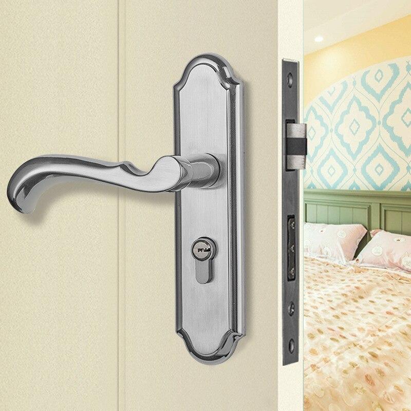 Serratura da infilare manopole e maniglie delle porte di blocco in acciaio inox Stile Moderno Mute anti-furto solido hardware di blocco serrature