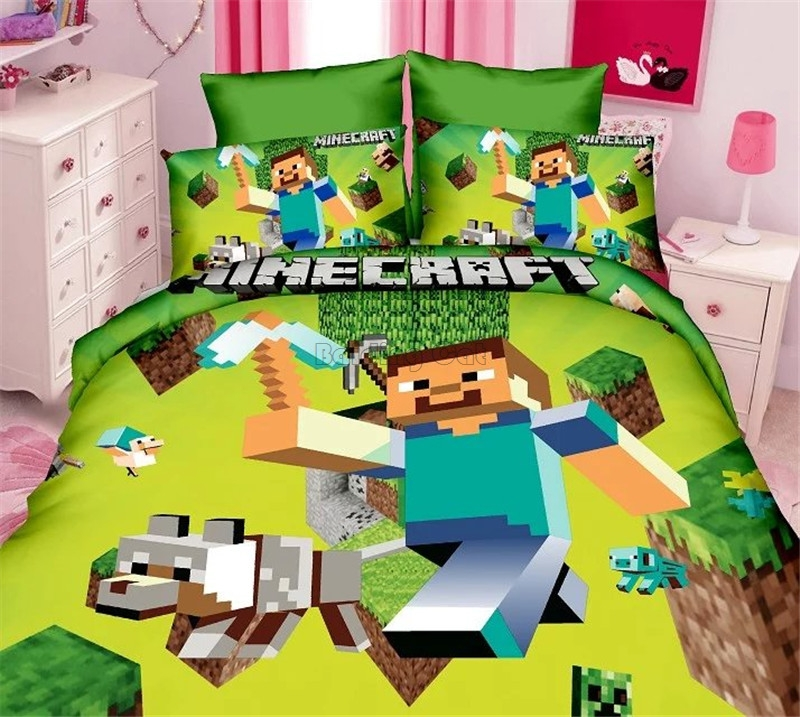 New Minecraft Cotton Bedding Set Cartoon Boy Girl Bed Linen for Children Sheet Pillowcase Duvet Cover