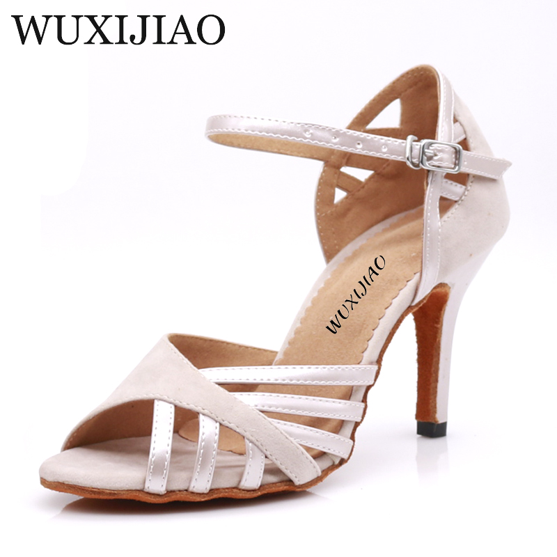 WUXIJIAO Dance Shoes Latin Woman PU+ Suede Salsa Dancing Shoes Glitter Professional Dance Shoes Ballroom Soft Shoes