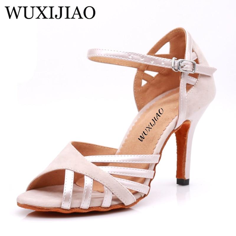 WUXIJIAO Dance Shoes Latin Woman PU+ Suede Salsa Dancing Shoes Glitter Professional Dance Shoes Ballroom Soft Shoes
