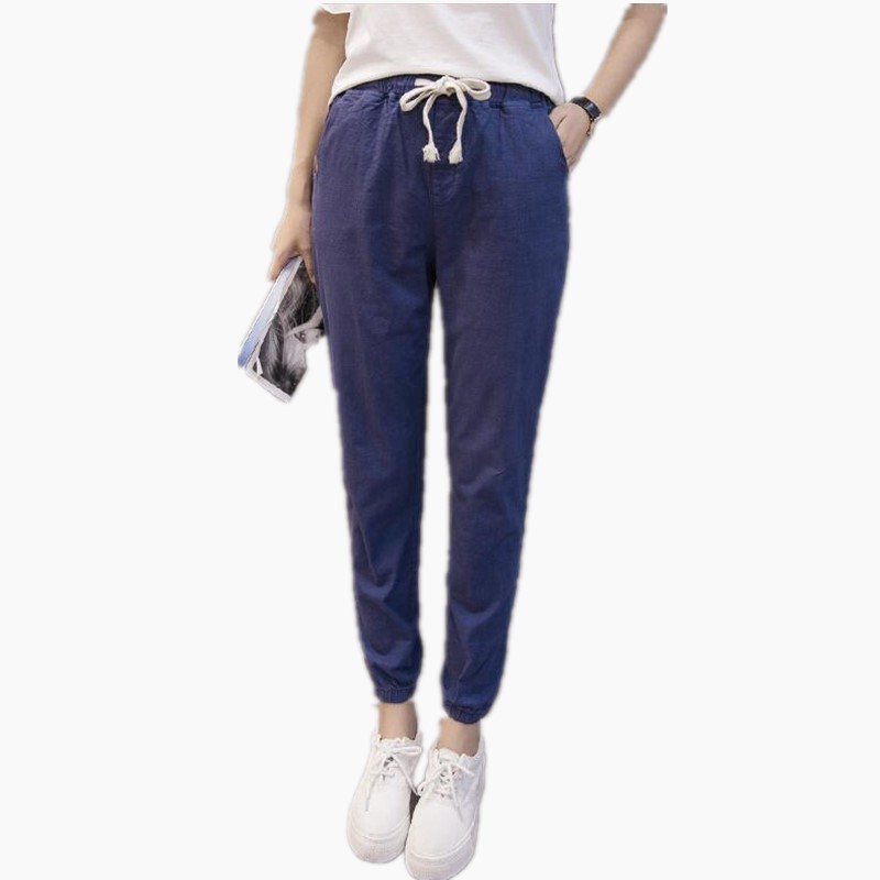 2017 Spring Summer Linen   Pants   Fashion Women Plus Size   Pants     Capris   Elastic High Waist Ankle Length   Pants   Women Trousers