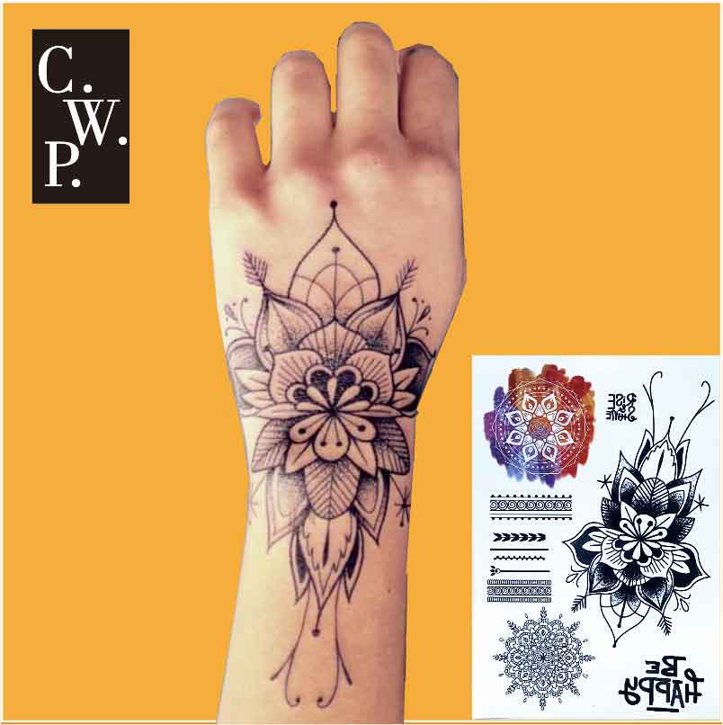 Henna Flower Tattoo Designs Wrist: #BH1708 1 Piece Wrist Black Big Flower Henna Temporary