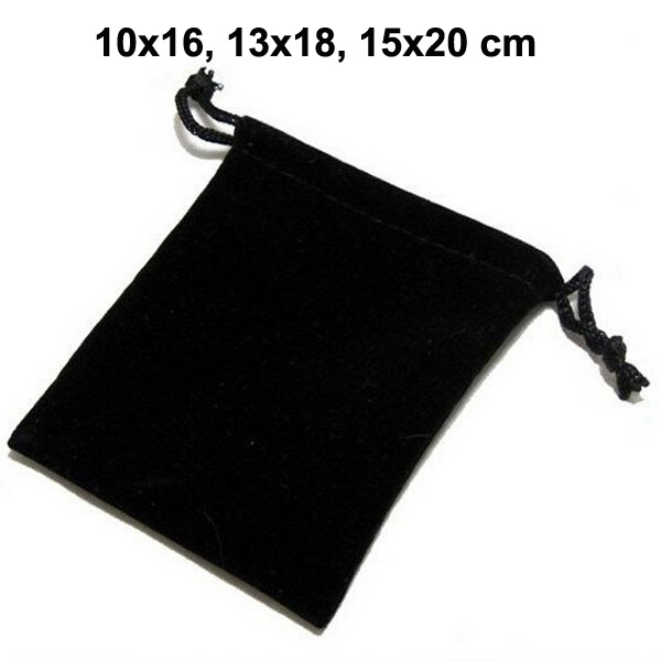 50pcs/lot 10x16, 13x18, 15x20 Cm Black Drawstring Pouches Velvet Bags For Jewelry Christmas Packaging Gift Bag Can Custom Logo