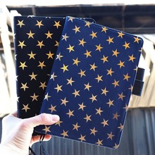 """""""Golden Stars Basic"""" Big Size Beautiful Cute Journal Replaceable Lined Papers Notebook Travel Diary Girlfriend Stationery Gift"""