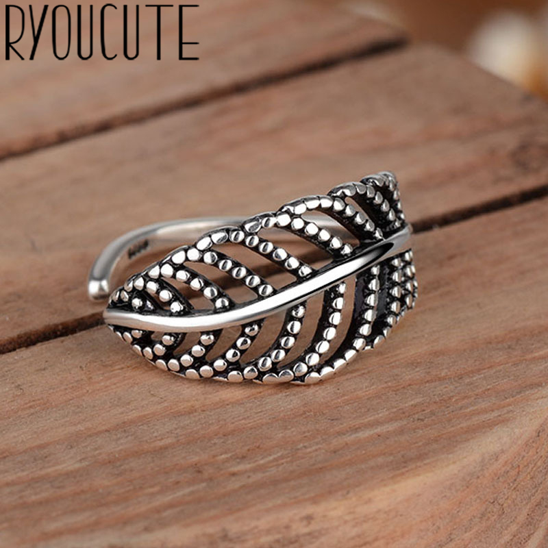 Bohemian Vintage Silver Color Leaf Rings for Women Fashion Statement Jewelry Adjustable Finger Ring Girls Gifts 1