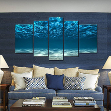 5 Panel Wall Art Blue Ocean Bottom View Beneath Surface Painting The Picture Print On Canvas Seascape Pictures For Home Decor