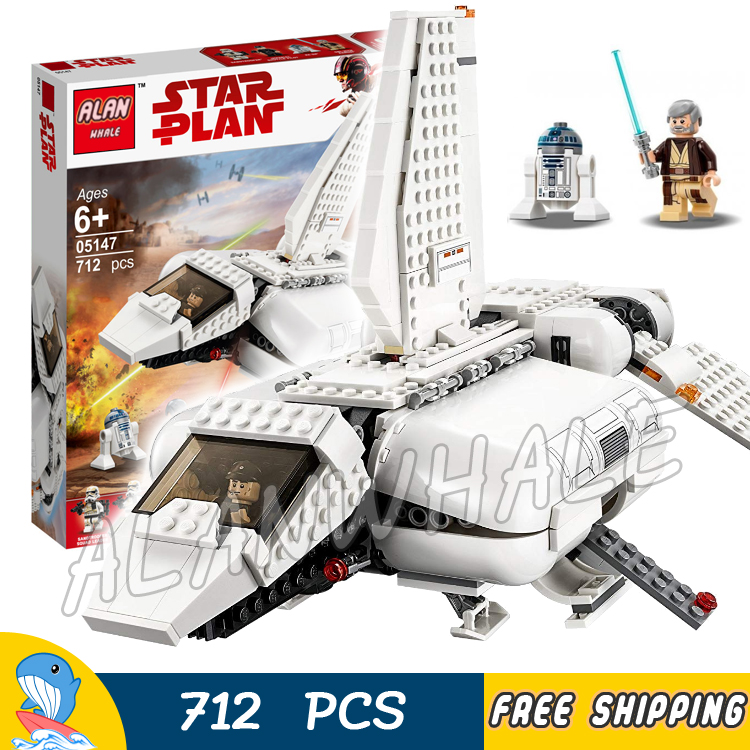 712pcs Space Wars Imperial Shuttle Landing Craft Obi Wan Kenobi Pilot 05147 Figure Building Blocks Toy  Compatible With LagoING|Blocks| |  - title=