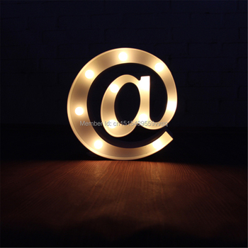 9 @ at tag LED Marquee Sign LIGHT UP  Vintage white and black Plastic  neon light  holiday Indoor Deration Free shipping mini hashtag led marquee sign light up marquee light neon light indoor deration wall lamp free shipping