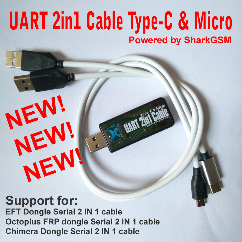 2018 Newest UART 2in1 Cable Type-C Micro For EFT Dongle Chimera Dongle Octoplus  FRP Dongle Tools