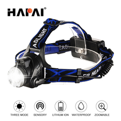 Smart ir sense LED Headlamp T6 Zoom Rechargeable head flashlight torch Outdoor Fishing Waterproof Head lamp use 18650 battery