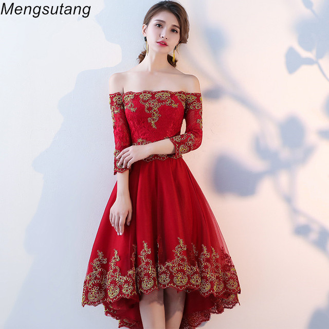 57f411309e10 Robe de soiree 2019 New Wine red backless lace up evening dress with  Appliques Party Dresses