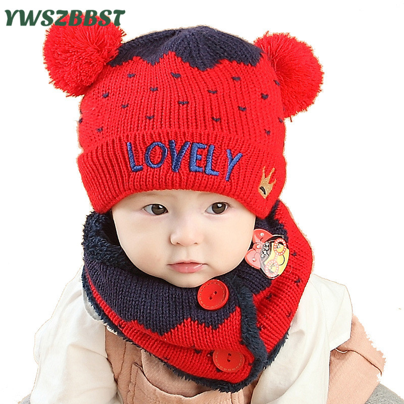 e475c81862b452 New Fashion Love Crown Baby Hat Scarf Winter Boys Hats Girls Crochet Warm  Plush Cap Children Cap Scarf Kids Hats Scarf set
