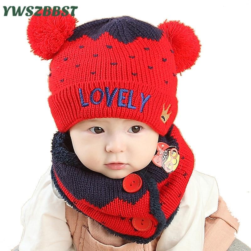 e475c81862b452 New Fashion Love Crown Baby Hat Scarf Winter Boys Hats Girls Crochet Warm  Plush Cap Children Cap Scarf Kids Hats Scarf set