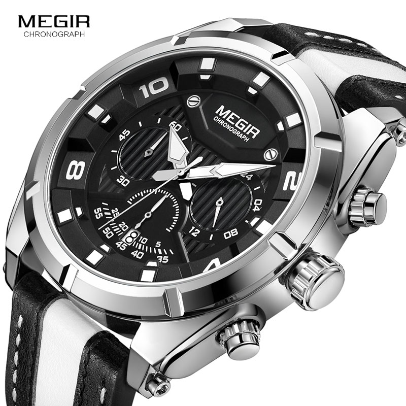MEGIR Outdoor Sports Quartz Watches Men Top Luxury Brand Chronograph Leather Waterproof Wristwatches Relogio Masculino 2076 kezzi men watches sports waterproof quartz watch luxury brands leather strap watches wristwatches relogio masculino relojes