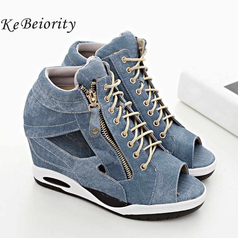 KEBEIORITY Fashion Ankle Shoes Woman Lace Up Wedges Heels Shoes Spring Autumn Ankle Boots for Women Open Toe Shoes 2018 fashion summer lace up women sandels cut outs open toe low wedges bohemian beach shoes white black ankle strap shoes for women