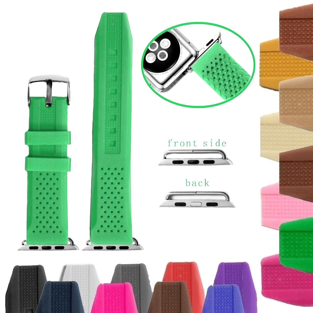 38mm Aquamarine Color Silicone Jelly Rubber Good Watch Band Replacement for Apple iWatch WB1101W38JB
