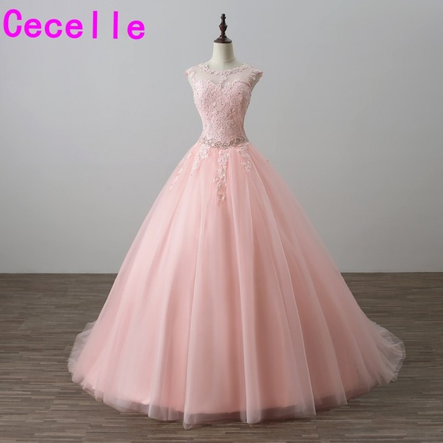 2019 Blushing Ball Gown Princess Prom Dresses Sleeveless Beaded Lace  Appliques Corset Back Tulle Skirt Seniors Formal Prom Gowns