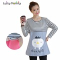 Breastfeeding Tops T-shirts Nursing Top Clothes Long-sleeved Stripe Cute Maternity T-shirt Fall Spring Pregnancy T shirt