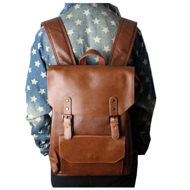 2018 Men Backpacks Vintage Satchels Leather Backpack Travel Bag College  Student Laptop Back Pack School Bags for teenage Girls b725c0b3fdf