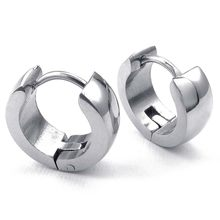 Jewelery Earrings - Minimalist Design Hinged Rings - Stainless Steel - for Men and Women - Silver - With Gift Bag(China)