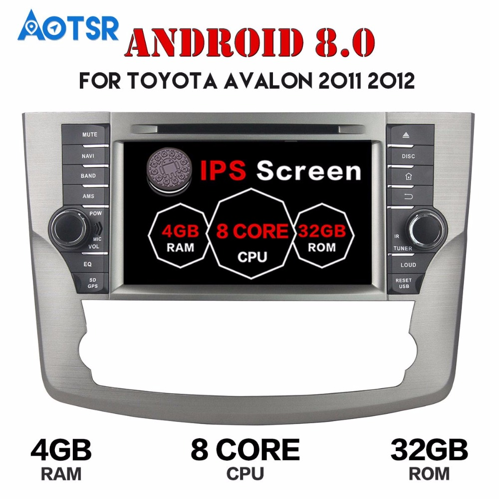 1 din Android 8.0 Car dvd player GPS Radio For Toyota Avalon 2011 2012 4+32GB Touch Screen multimedia player tape recorder Audio image
