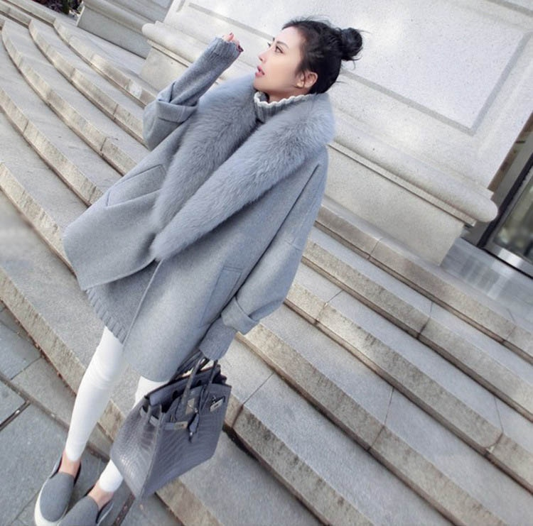 Cappotti di lana per le donne con naturale pelliccia di volpe collare femminile del manicotto di pelliccia di pecora giacche più il modo di formato Elegante Over Autunno