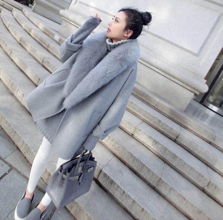 Manteaux de laine pour femmes avec col en fourrure de renard naturel manchon femelle fourrure de mouton vestes grande taille mode Élégant Overwear Automne