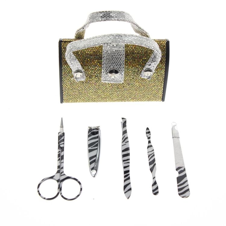 5 Unids / set Bolso Forma Bronce Brillo Conjunto de manicura Incluye - Arte de uñas - foto 1