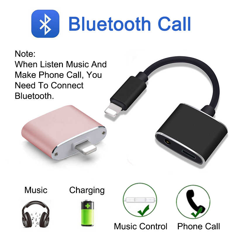 quality design 20e23 d8cce EGRINCY 2 in 1 Bluetooth Audio Cable For iPhone 8 7 Plus To 3.5mm Adapter  Splitter Earphone For Music & Charger & Call ios 11.2